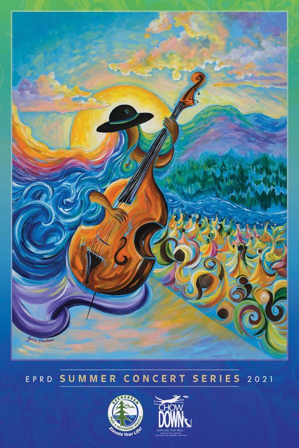 EPRD Summer Concert Series poster with colorful abstract painting of woman playing the cello