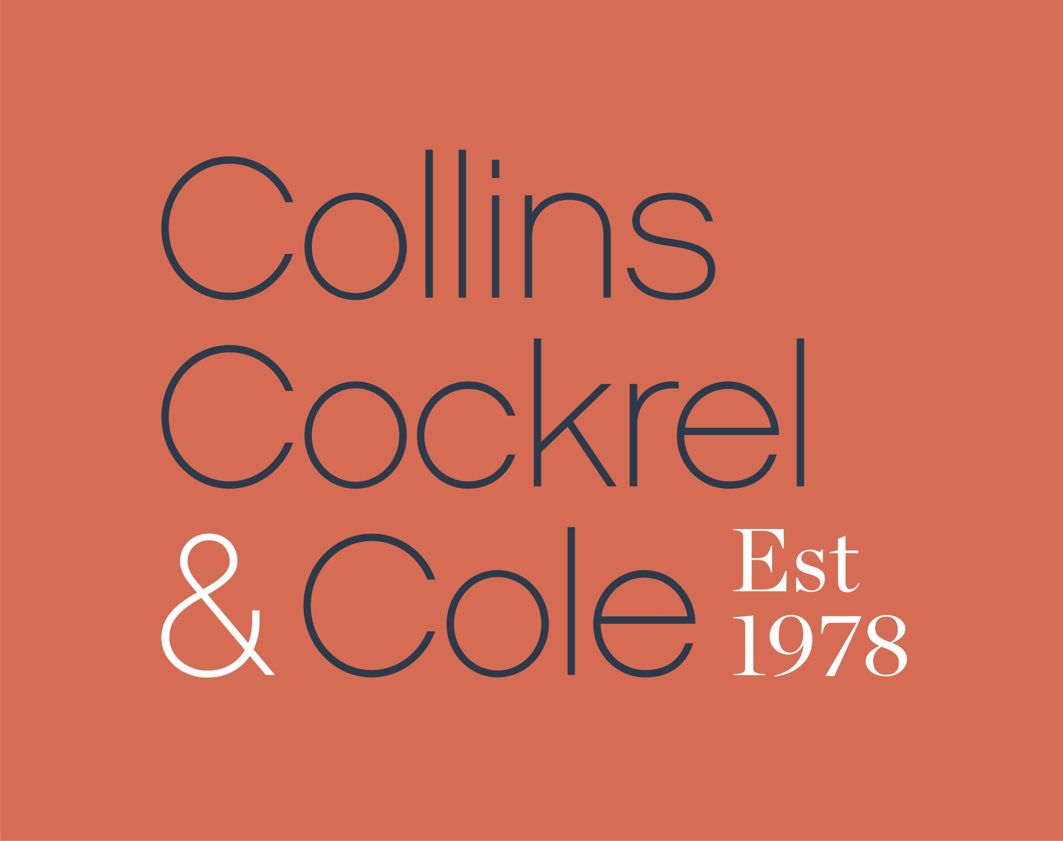 Collins Cockrel and Cole Logo- names on orange background